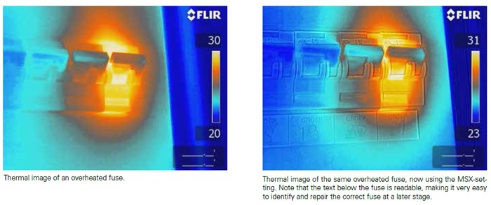 Flir E6 Thermal image of overheated fuse