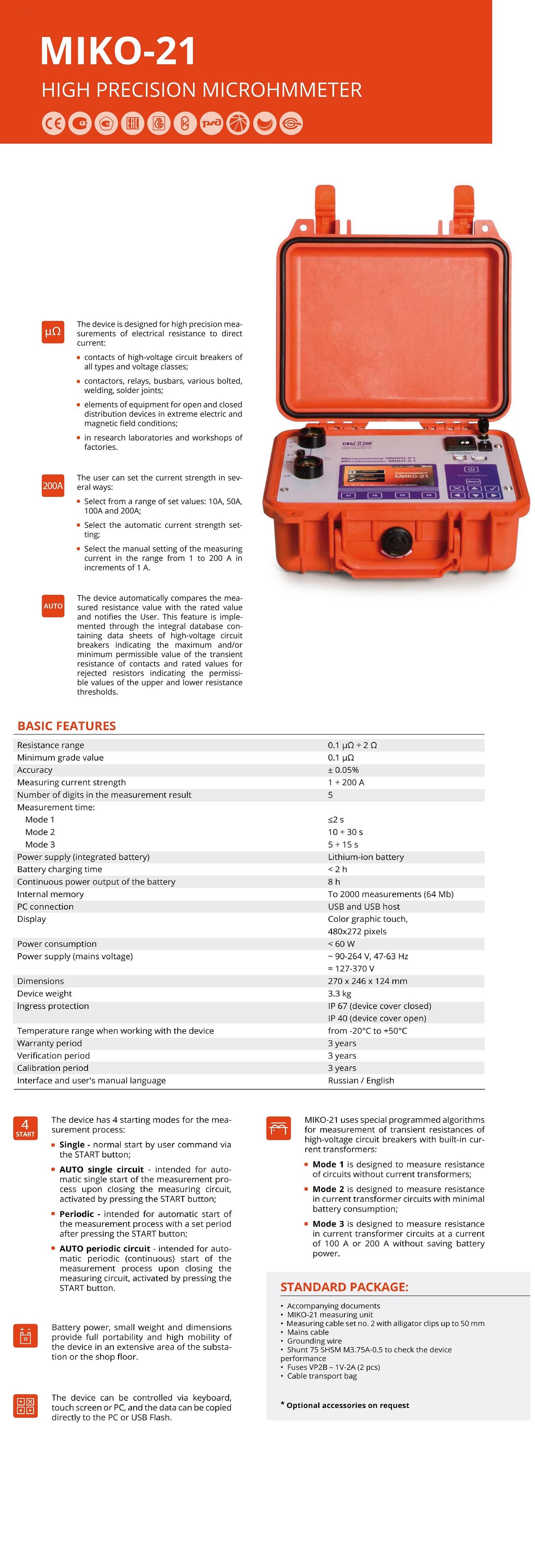MIKO-21 Digital 200A Micro-Ohmmeter | Test Equipment Australia